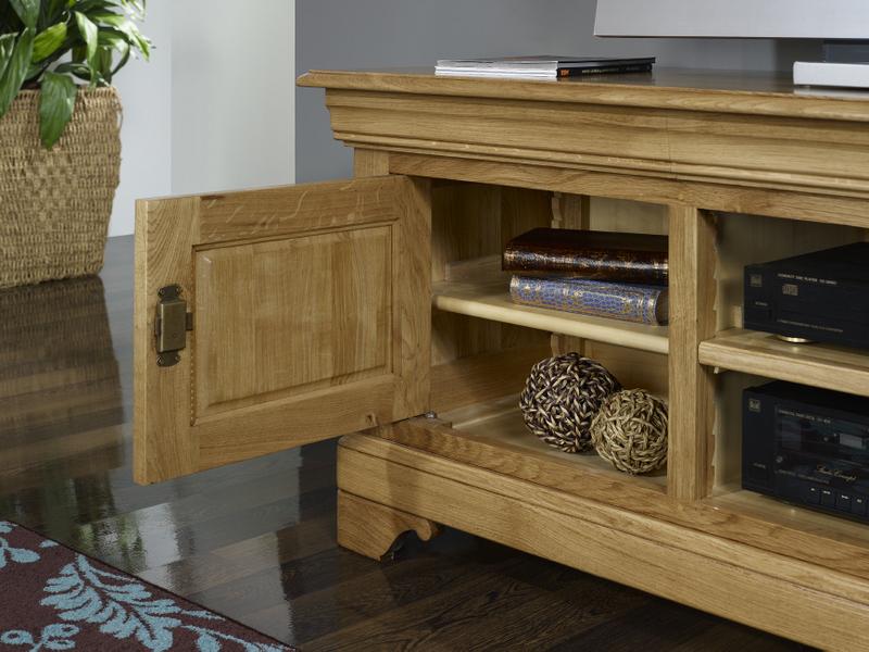 Meubles tv 16 9eme julien en ch ne massif de style louis philippe meuble en - Meuble tv bois blanchi ...
