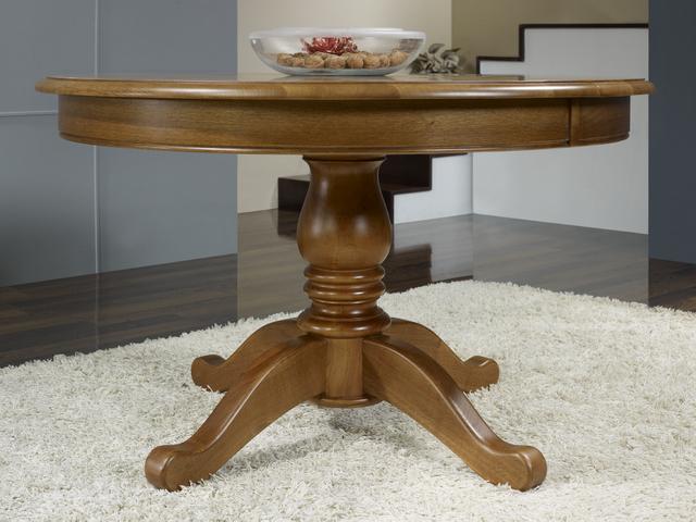 c79e1076fe8d5 Table ronde pieds central en Chêne de style Louis Philippe DIAMETRE 120 - 5  ALLONGES DE 40 CM