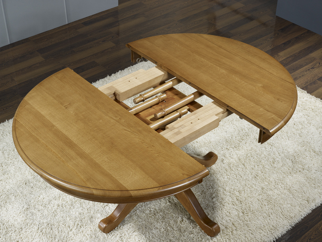 Table ronde pieds central en ch ne de style louis philippe for Table rallonge bois massif