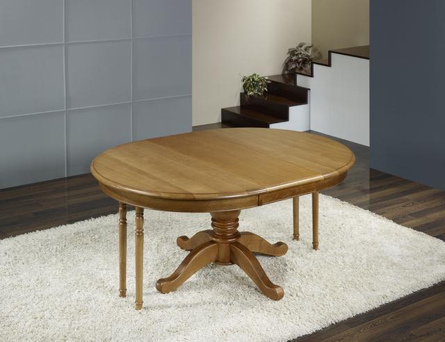 Table ronde pieds central en ch ne de style louis philippe - Table ronde chene massif avec allonges ...