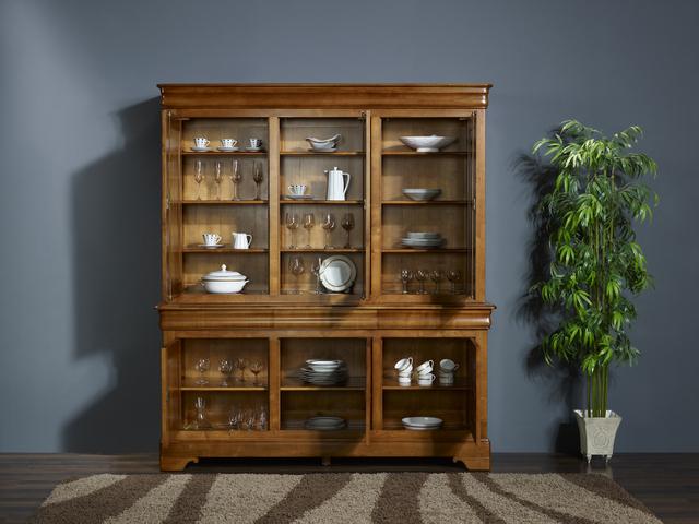 biblioth que 2 corps 3 portes lucie en merisier massif de style louis philippe portes bois de. Black Bedroom Furniture Sets. Home Design Ideas