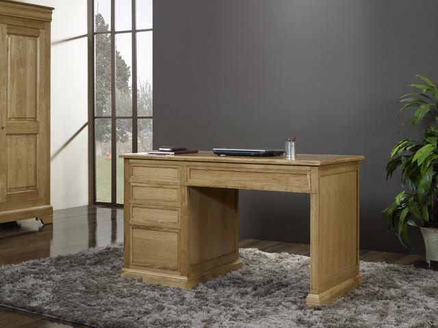 Bureau 5 tiroirs victor en ch ne de style louis philippe for Bureau en chene massif