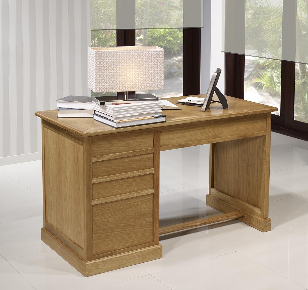 Bureau 5 tiroirs victor en ch ne de style louis philippe for Bureau 5 tiroirs