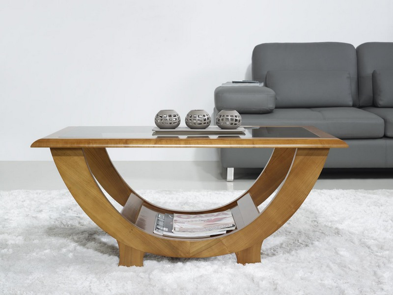 Table basse en merisier massif de style contemporain - Bureau contemporain bois massif ...