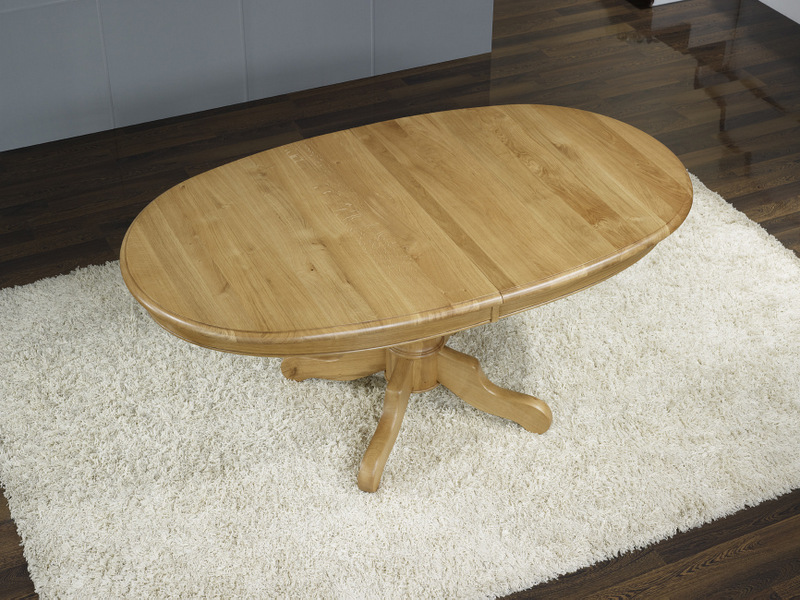 Table ovale pied central en ch ne massif de style louis for Table ovale allonge