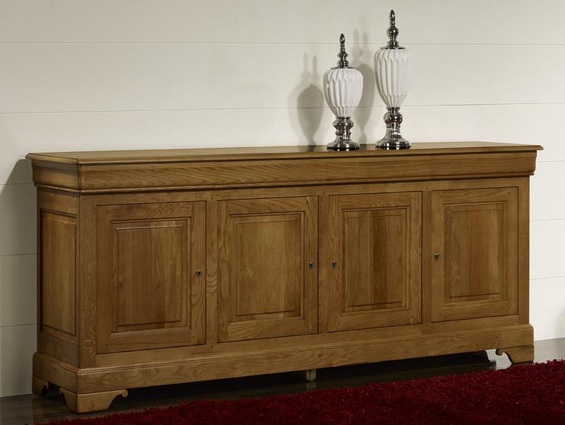buffet 4 portes jean baptiste en ch ne massif de style louis philippe meuble en ch ne massif. Black Bedroom Furniture Sets. Home Design Ideas