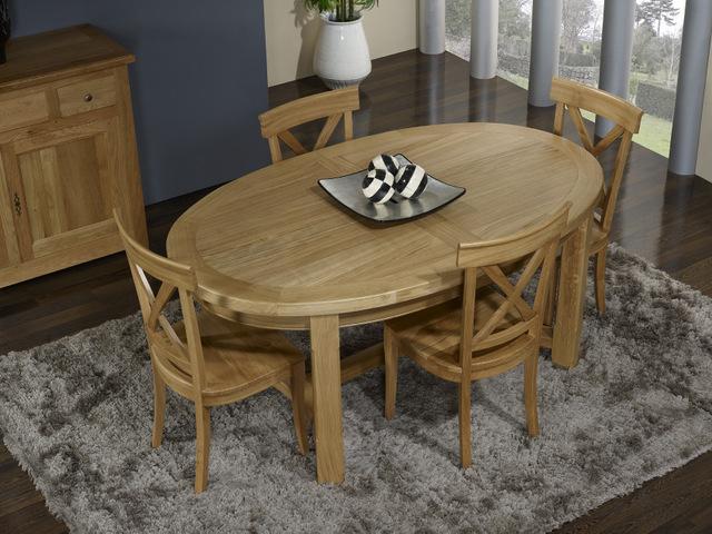 Table de ferme ovale damien en ch ne massif de style - Table en chene massif avec rallonges ...