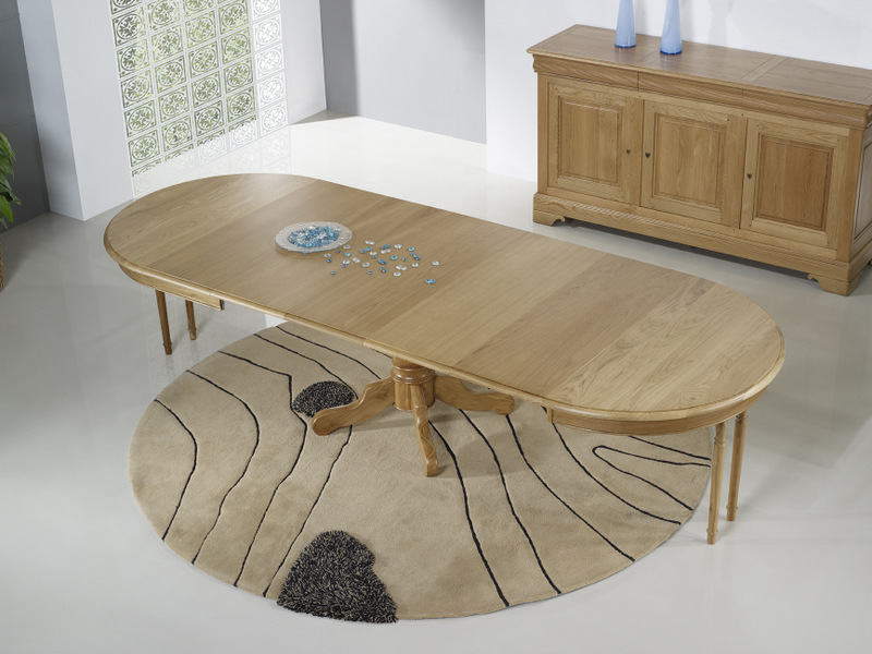Table ronde pied central marc en ch ne massif de style for Table ronde noire avec rallonge