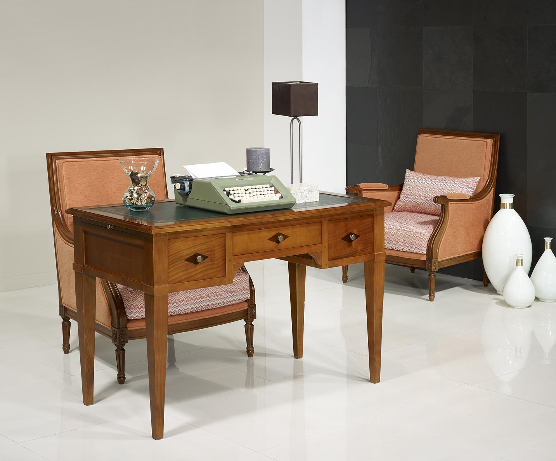 bureau 3 tiroirs 1 2 ministre cl mentine en merisier massif de style directoire meuble en. Black Bedroom Furniture Sets. Home Design Ideas