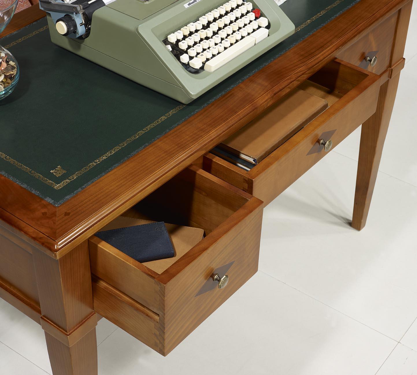 Bureau 3 tiroirs 12 ministre Clémentine en Merisier Massif de style Directoi -> Bureaux Style Ministre