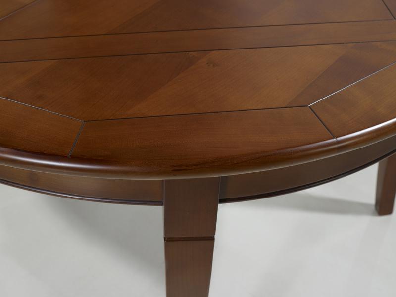 table ronde 4 pieds plateau marquett en merisier de style louis philippe diametre 120 meuble. Black Bedroom Furniture Sets. Home Design Ideas
