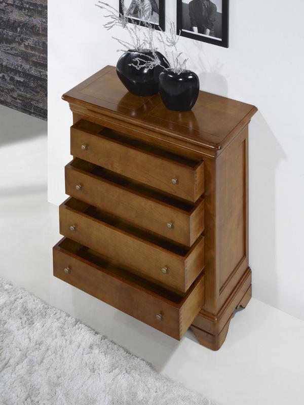 commode 4 tiroirs nathalie en merisier de style louis philippe meuble en merisier massif. Black Bedroom Furniture Sets. Home Design Ideas