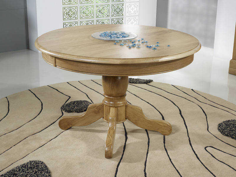 Table Ronde Bois Massif - Table ronde pied central en Ch u00eane Massif de style Louis Philippe DIAMETRE 120 2 allonges de 40