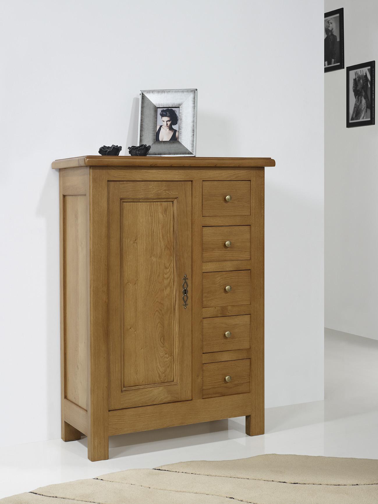 farinier 1 porte 5 tiroirs amaury en ch ne massif de style campagnard meuble en ch ne massif. Black Bedroom Furniture Sets. Home Design Ideas