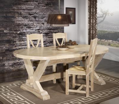 Table monast re olivier 220x120 en ch ne massif 2 allonges portefeuille de 45 - Table en chene blanchi ...