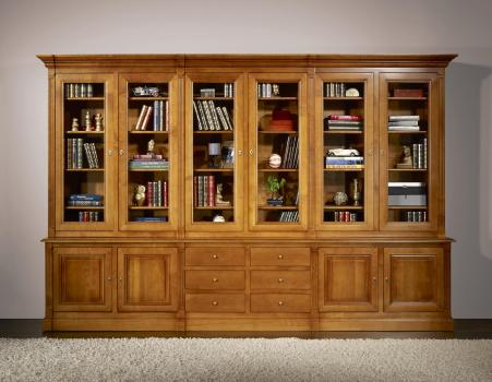 Biblioth que 2 corps 6 portes sabine en merisier massif de - Meuble bibliotheque avec portes ...