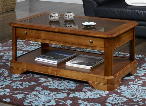 table basse en merisier massif de style louis philippe tiroir vitrine meuble en merisier massif. Black Bedroom Furniture Sets. Home Design Ideas