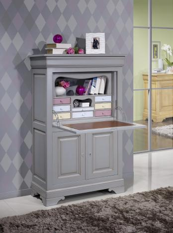 secr taire en merisier massif de style louis philippe finition gris antiquaire meuble en. Black Bedroom Furniture Sets. Home Design Ideas