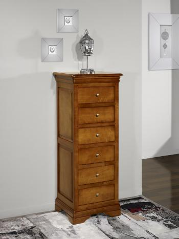 chiffonnier 6 tiroirs adriana en merisier massif de style louis philippe meuble en merisier massif. Black Bedroom Furniture Sets. Home Design Ideas