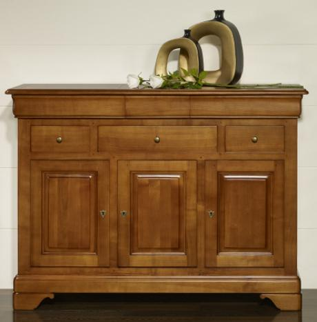 buffet 3 portes 6 tiroirs laure en merisier massif de style louis philippe meuble en merisier. Black Bedroom Furniture Sets. Home Design Ideas