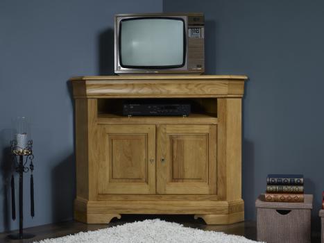 Meuble tv d 39 angle arnaud en ch ne massif de style louis - Grand meuble d angle ...