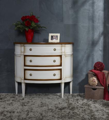 commode 1 2 lune 3 tiroirs en merisier de style louis xvi laquee gris et teinte du bois meuble. Black Bedroom Furniture Sets. Home Design Ideas