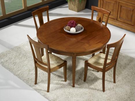table ronde 4 pieds c lia en merisier de style louis philippe diametre 130 1 allonge. Black Bedroom Furniture Sets. Home Design Ideas
