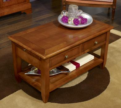table basse sandra en merisier de style campagnard finition merisier dor meuble en merisier. Black Bedroom Furniture Sets. Home Design Ideas